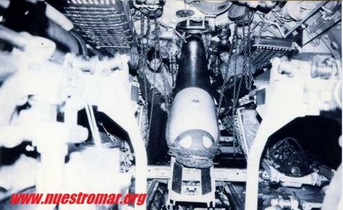 Proceso de carga del torpedo Mk 14 s