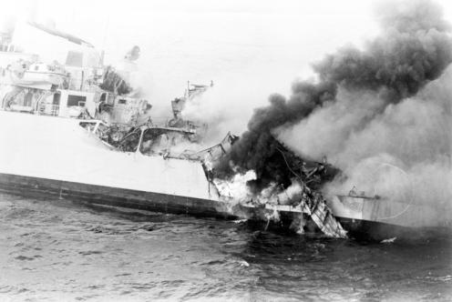 Bombas en la guerra de malvinas Arde
