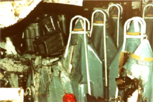 Bombas en la guerra de malvinas Argonaut-bombardeado