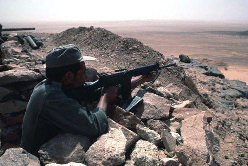 Moroccan Soldier Aiming Machine Gun
