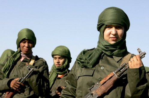 Sahrawi women soldiers look on during a parade