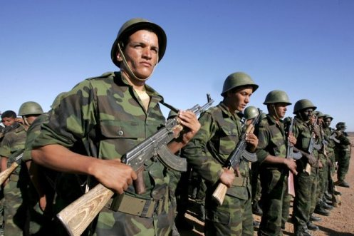 Sahrawi soldiers take part in a parade