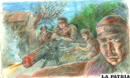 Un dibujo de Vicente González Aramayo Zuleta que gráfica lo cruenta que fue la Guerra del Chaco