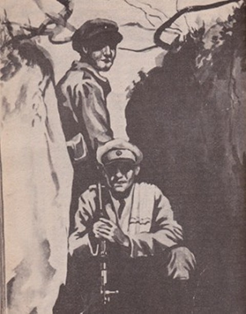 Este cuadro, realizado por Gil Coimbra —pintor beniano que registró plásticamente varias escenas y personajes de la contienda—, muestra a dos soldados bolivianos en una trinchera