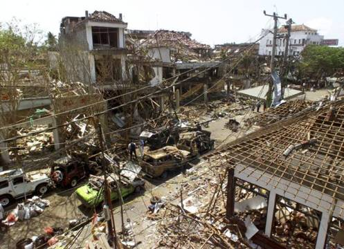 File photo of a general view of a site after a bomb blast in Kuta on the Indonesian island of Bali