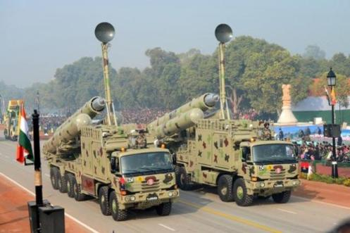 Brahmos launchers at Rajpath during the full-dress rehearsal of the Republic Day parade in New Delhi on January 23, 2013.