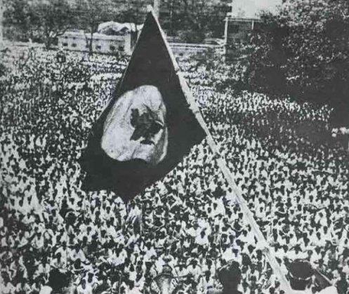 Dhaka 1971 - 15th February, Joy Bangla Bahini presented guard of honour to Bangabandhu at DU campus