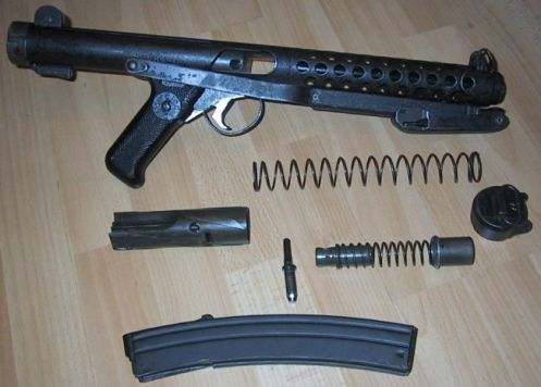 Sterling L2A3   Mk.4 submachine gun, partially disassembled.