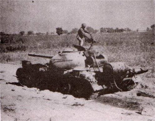 A knocked-out Indian tank in the Sulemanki sector - December 1971.