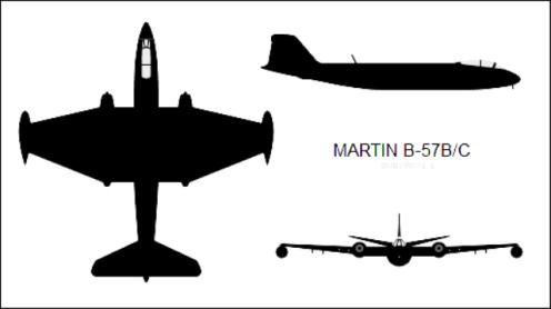 Martin_B-57B_Canberra_three-view_silhouette