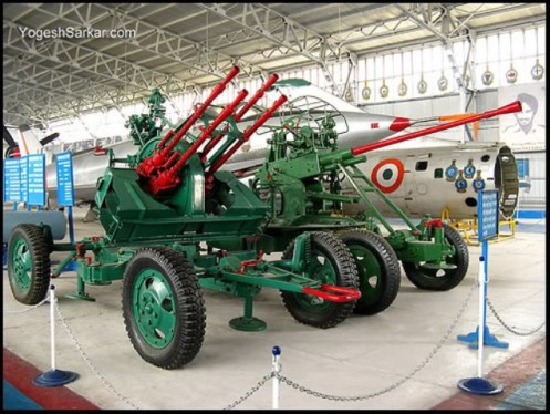 Pakistani AA guns captured in 1971 on display at Delhi Air Force Museum