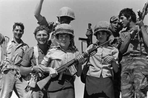 Israeli troops celebrate their victory in the Six-Day War, June 1967
