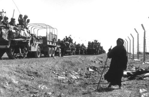 Soldados israelíes hacia  los Altos del Golán, en junio de 1967d