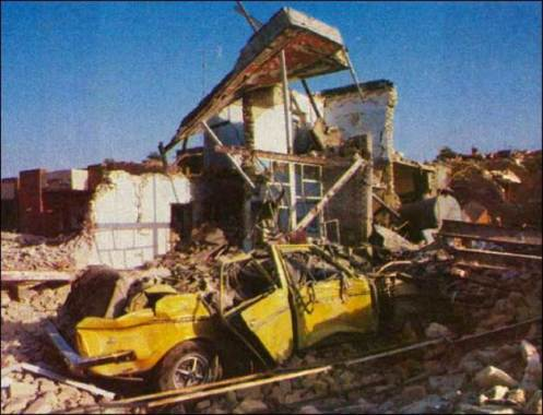 Casas fueron destruidas por fuego de artillería iraquí en Dezful