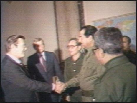 Donald Rumsfeld meeting Saddam Hussein