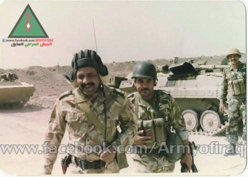 El teniente general Nouri Daoud Meshal  batallón décima brigada blindada , en las líneas del frente, batallas de la liberación al faw,  1988