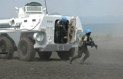 Elements of the Force Intervention Brigade of MONUSCO give a demonstration of their know-how in combat. The Brigade is mandated by the UN Security Council to neutralize all armed groups in eastern D.R. Congo.