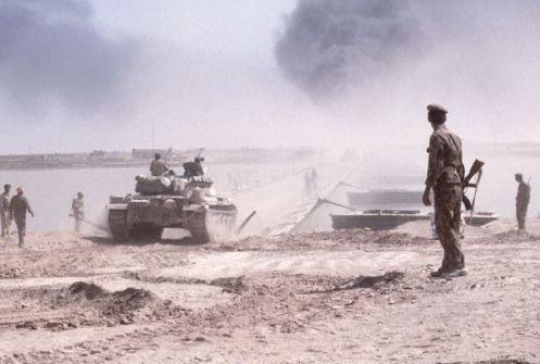 Tank Crosses Pontoon Bridge, Iraq
