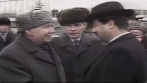 Saddam Hussein and Andrei Gromyko