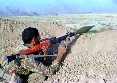 An Iranian soldier holding Type 69 RPG