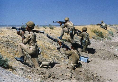 Iraqi Soldiers in Desert of Iran
