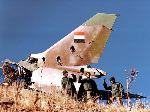 Iranian soldiers cheer after Iraqi Su-17 shot down by Iranian Air Defense Forces.