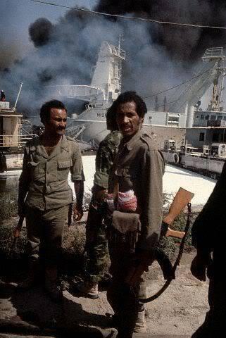 Soldados iraquíes soporte interior Puerto iraní Mahrma 1980