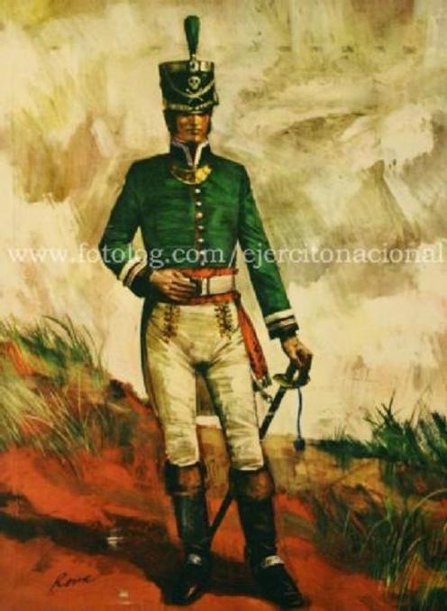 En la imagen: Oficial del Cuerpo de Zapadores hacia el año 1813-1814. Guillermo Roux.