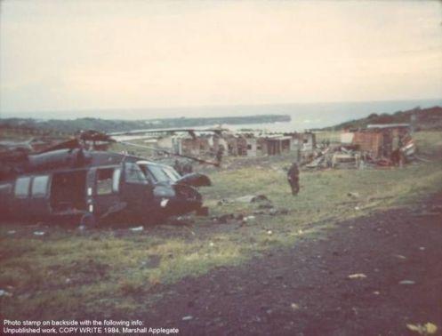 Black Hawk UH-60 destruido -Invasión de Granada 1983.