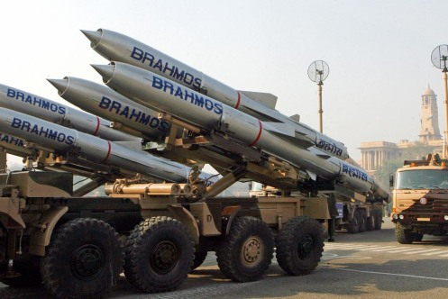 Brahmos missiles are seen during the reh
